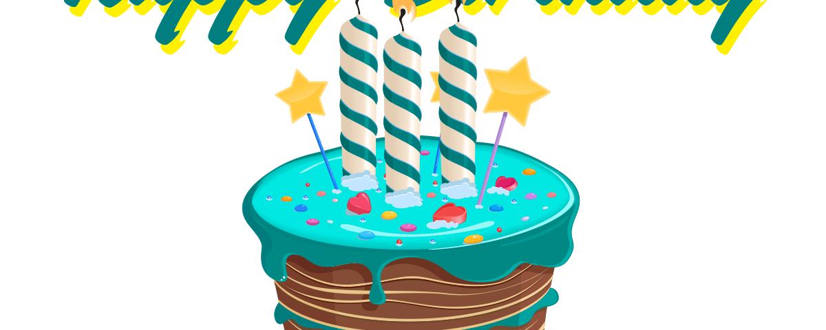 Drei Kerzen auf dem RadFreund-Kuchen.