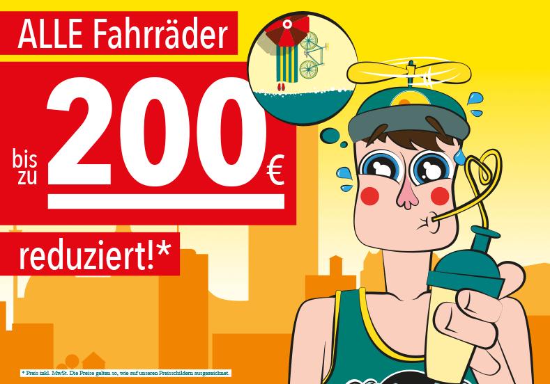 In unserem aktuellen Summer Sale haben wir ALLE Fahrräder um bis zu 200€ reduziert!