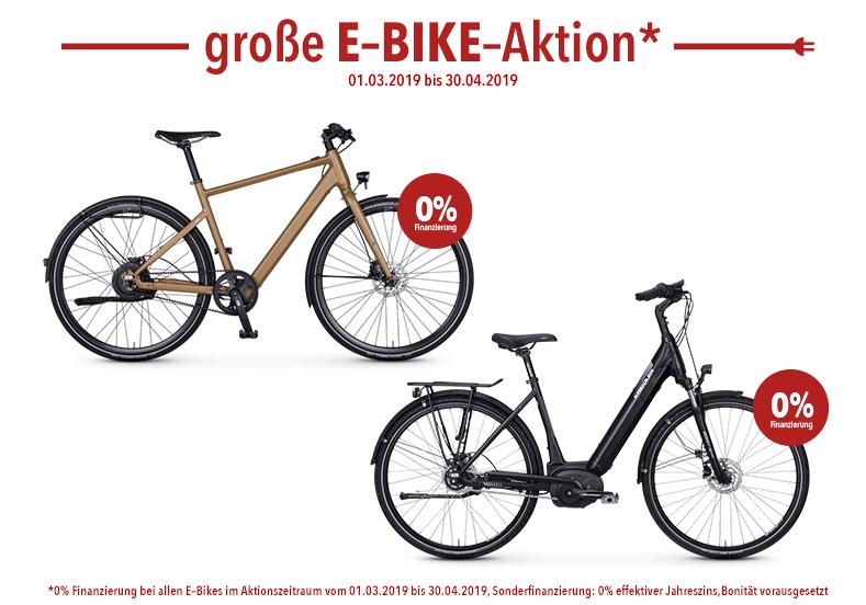 Während des Aktionszeitraumes vom 01.03.2019 bis zum 30.04.2019 gibt es die 0% Finanzierung auf alle E-Bikes.