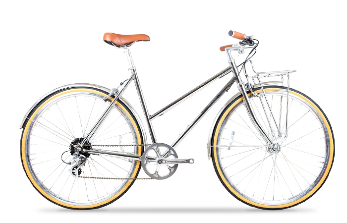 Das Brick Lane Bike Beetle 8Spd in chrome.